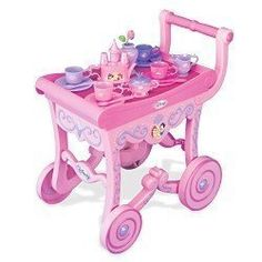 Disney Princess Deluxe Tea Cart Play Set by Disney. $49.95. It includes: --Tea Cart --Tea Pot --Creamer --Sugar Bowl with Lid --2 Saucers --2 Cups --2 Spoons   Also Includes Removable Serving Tray!