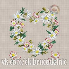 VK is the largest European social network with more than 100 million active users. Cross Heart, Cross Stitch Heart, Cross Stitch Flowers, Counted Cross Stitch Patterns, Cross Stitching, Needlework, Daisy, Photo Wall, Diy Crafts