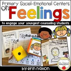 Need a resource to engage your counseling program's youngest learners? This packet of Primary Social-Emotional Centers on Feelings will meet your needs! This packet includes 6 interactive, independent centers on Feelings and Emotions for Feelings Book, Feelings And Emotions, Kindergarten Lesson Plans, Kindergarten Centers, Elementary Counseling, School Counselor, Teaching Schools, Teaching Ideas, Feelings Activities