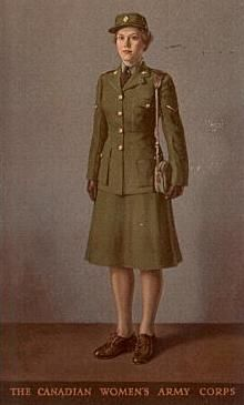 This postcard from 1945 shows the typical Service Dress of the Canadian Women's Army Corps. The war had elevated the status of women in society just as the First World War had