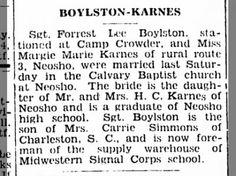 Boylston-Karnes wedding, Camp Crowder, 6 Jan 1943