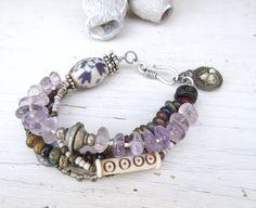 Un bracelet 4 rangs avec pierres précieuses: Accents Vibratoires !!!!! : Bracelet par les-reves-de-minsy
