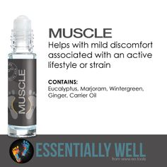Muscle - Helps with mild discomfort associated with an active lifestyle or strain #essentiallywell #diykit #makeandtakekit #essentialoils #reflexology