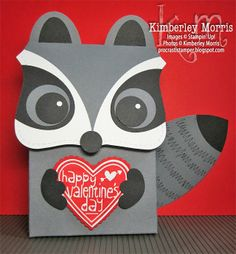 handmade Valentine card from procrastistamper: 2013 Raccoon Top Note Box Video Tutorial ... adorable raccoon carrying a valentine ...  shaped card ... Stampin' Up!