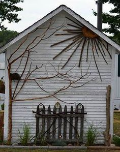 decorated Garden shed. I have the perfect building in my backyard to do this.Artfully decorated Garden shed. I have the perfect building in my backyard to do this. Garden Crafts, Garden Projects, Twig Crafts, Art Projects, Yard Art, Outdoor Art, Outdoor Gardens, Rustic Outdoor Wall Art, Rustic Fence