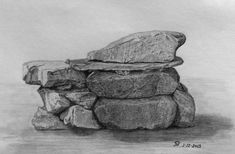 Rocks - Drawing Planes Drawing Rocks, Pencil Art Drawings, Art Sketches, Image Rock, Painted Baskets, The Rock, Still Life, Design Elements, Illustrations