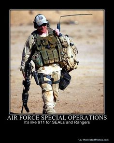 Photo of a USAF Combat Controller (CCT) in Afghanistan - many other images of USAF special tactics teams are available at this site. Military Quotes, Military Humor, Military Gear, Military Life, Military Aircraft, Air Force Pararescue, Usaf Pararescue, Air Force Humor, Air Force Special Operations