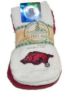 Arkansas Razorbacks Two Feet Ahead Infant Baby Newborn 3 Pair Socks Pack