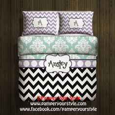Chevron Bedding  Chevron and Damask  Purple and by PAMPERYOURSTYLE, $149.00
