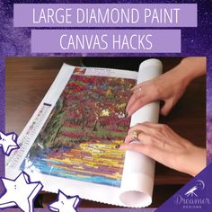 Working with large diamond paintings can be tricky when space is limited. It's especially important to make sure that you are enjoying the process (and avoiding frustration) since large diamond paintings can take 30 hours to complete! Happy Paintings, Cross Paintings, Beautiful Paintings, Dot Painting, Painting Tips, Painting Frames, Painting Techniques, Creative Crafts, Diy Crafts