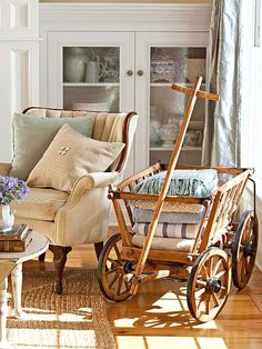 Hold off on the clunky crates! Instead opt for an antique wooden wagon as an inventive storage solution.