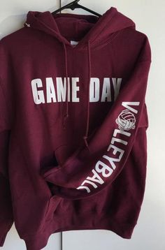 Our Best Selling Hoodie! Fun to pick your team or school color and match with your teammates and friends. They also say Bring it on the hood and Volleyball on the sleeve. Makes a great gift to include a headband and bracelet. Whats your game day, we can change the sleeve to say