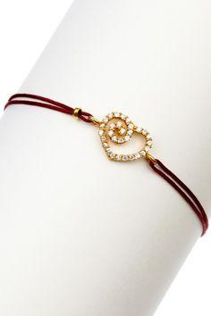 Swirl Heart Charm Cord Bracelet
