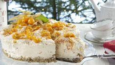 Her er en vri med iskake. Best Outdoor Lighting, Norwegian Food, Ice Cake, Design Your Dream House, Gluten Free Cakes, Christmas And New Year, Sorbet, Vanilla Cake, Camembert Cheese