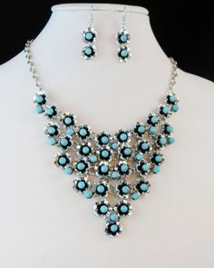 Cowgirl Bling Native Flower Turquoise Bib Statement Western Silver Necklace set our prices are WAY BELOW RETAIL! all JEWELRY SHIPS FREE! www.baharanchwesternwear.com baha ranch western wear ebay seller id soloedition