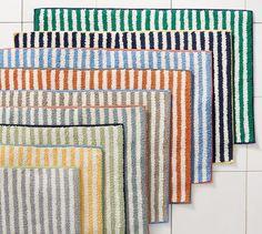 Marlo Stripe Bath Rug | Pottery Barn