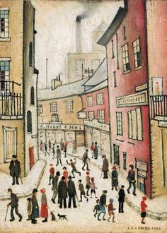 An Old Street 1932 x cm) by Laurence Stephen Lowry Artwork Type: Painting; Irish Art, Old Street, Buy Art Online, Art Auction, Box Art, Medium Art, Canvas Art Prints, Framed Prints, American Art