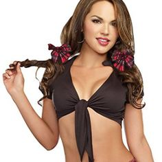 Dreamgirl Women's Sexy Tie-Front Crop Top Costume Accessory, All Tied Up, Black, Small/Medium - Sexy Halloween Costumes