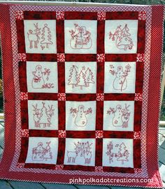 redwork Christmas quilts
