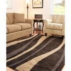 Florida Shag Dark Brown/Beige 5 ft. 3 in. x 7 ft. 6 in. Area Rug
