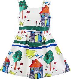 Girls Dress House Tree Cat Bird Print Party Size 4-10 Years