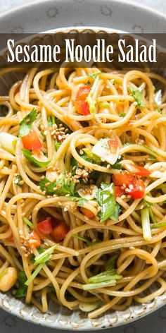 Sesame Noodle Salad, so quick and easy! Thin noodles infused with a sesame, honey, soy sauce dressing. Asian Pasta Salads, Pasta Salad Recipes, Healthy Salad Recipes, Vegetarian Recipes, Cooking Recipes, Noodle Salads, Sesame Noodle Salad, Sesame Noodles, Greek Tortellini Salad