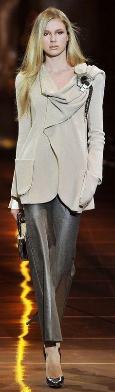 Armani Privé  ~ Couture Ecru Jacket w Brown Silk Trousers 2011