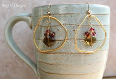 Whiskey Quartz Garnet Earrings, Cluster Wire Wrappped on Vermeil Brushed Freeform Circles, Gold Filled Hanging Chain Gemstone Earrings. $42.00, via Etsy.