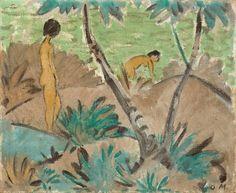 """6a. Otto Mueller, """"Zwei Mädchen mit gegabeltem Baum"""", um 1916/17, Leimfarbe auf Rupfen, 90 mal 110 Zentimeter: Zuschlag bei einer Million Euro (Taxe 1/1,5 Millionen), am 2. Juni bei Grisebach in Berlin"""