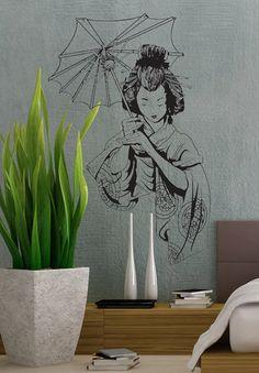Japanese Geisha  uBer Decals Wall Decal Vinyl Decor by uBerDecals