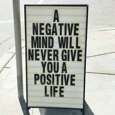 A negative mind will never give you a positive life. Words to live by. Positive Mindset, Positive Thoughts, Positive Vibes, Positive Quotes, Negative Thoughts, Dark Thoughts, Positive People, Positive Attitude, Citations Instagram