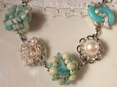 Vintage Turquoise Aqua Blue & Ivory Pearl and Crystal Bridal Bracelet, Heirloom Cluster Earring Silver Bracelet OOAK