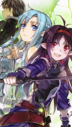 Asuna, Yuuki & Kirito (ALO) by abec
