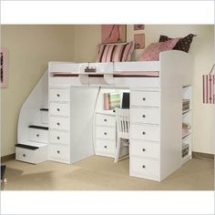 White Loft Bed with Storage and Desk