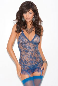 Lace Babydoll at www.bodylingerie.com  #lingerie #underwear #bodylingerie #underwire #blue