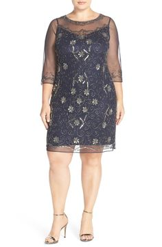 Free shipping and returns on Pisarro Nights Illusion Neck Beaded Shift Dress (Plus Size) at Nordstrom.com. A special-occasion dress in a sophisticated grey shade is illuminated from every angle with a scrolling pattern of shimmery beading. The sheer-illusion neckline and three-quarter sleeves complete the captivating style.