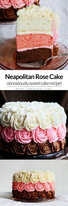 NEAPOLITAN ROSE CAKE | Sweet delicious cake using an easy rose cake piping technique! The sweet buttercream roses is so exciting! For more simple and easy dessert recipes to make, check us out at #iambaker. #foodlover #desserts #yummydesserts #recipeofthe