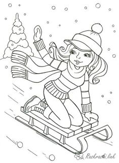 Christmas Images, Christmas Colors, Winter Christmas, Christmas Cards, Sports Coloring Pages, Colouring Pages, Coloring For Kids, Ski, Christmas Paintings
