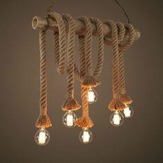 Rope Pendant Light, Pendant Lighting, Pendant Lamps, Chandelier Lamps, Industrial Lighting, Home Lighting, Lighting Ideas, Bedroom Lighting, Hallway Lighting