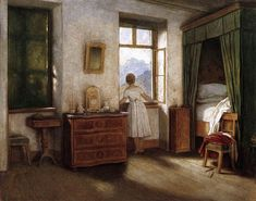 """""""Early Morning Moritz von Schwind - circa 1860 Neue Pinakothek - Munich (Germany) Painting - oil on canvas Height: cm in.) Image via the Athenaeum"""" Framed Artwork, Wall Art Prints, Poster Prints, Moritz Von Schwind, Open Window, Window View, Looking Out The Window, Through The Window, Illustrations"""