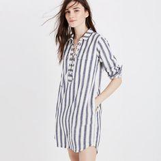 Madewell+-+Striped+Lace-up+Shirtdress