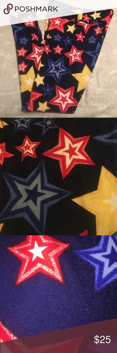 """🇺🇸 LuLaRoe Americana Leggings! OS 🇺🇸 Red, White, Blue, and Yellow! ⭐️ Worn once! Washed per LuLa instructions! Great condition! Navy Background! ❤️ I'm sad to part with them, but the """"made in China"""" OS don't fit me right 😘 LuLaRoe Pants Leggings"""