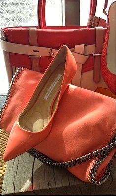 Diane von Furstenberg ♔Life, likes and style of Creole-Belle ♥ Women's Shoes Sandals, Shoe Boots, Shoe Bag, Neon Shoes, Pale Dogwood, Gq, Fashion Shoes, Fashion Accessories, Orange Fashion