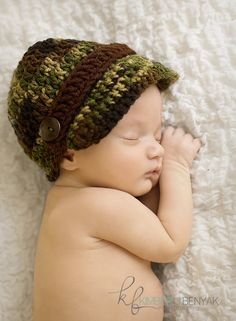 camo cap for baby $10.00, via Etsy.