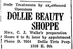 "An ad for Dollie Tivis's hair salon, published in the People's Elevator (Wichita, Kansas), 7 April 1927, page 4. Read more on the GenealogyBank blog: ""Historical African American Newspapers Online."" https://blog.genealogybank.com/historical-african-american-newspapers-online.html"