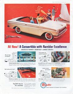 "Description: 1961 RAMBLER vintage magazine advertisement ""Rambler Excellence"" -- All New! A Convertible with Rambler Excellence ... America's newest, sportiest, lowest priced! ... Rambler, World Standard of Compact Car Excellence -- Size: The dimensions of the full-page advertisement are approximately 10.5 inches x 13.5 inches (26.75 cm x 34.25 cm). Condition: This original vintage full-page advertisement is in Excellent Condition unless otherwise noted (inside front cover; slight edge…"