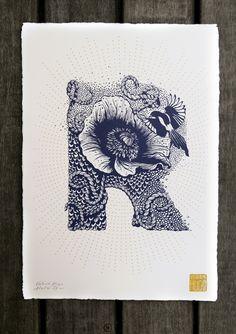 Typography - Alphabet Illustred by Valérie Hugo - Letter R