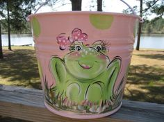 Hand Painted Personalized Girls Easter Basket by SassyfrasDesignz, $28.99