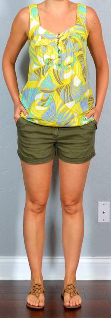 thailand outfit post: yellow tropical print tank, green khaki shorts, sandals