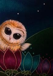Art: TINY BARN OWL IN MY GARDEN by Artist Cyra R. Cancel